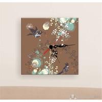 Kanvas Saat Kuşlar ve Çiçek