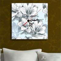 Beyaz Çiçek Tablo Saat
