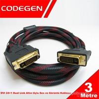 Codegen DVI 24+1 Dual Link 3mt Altın Uçlu Ses ve Görüntü Kablosu (CPD17)