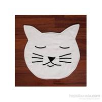 Yastıkminder Koton Beyaz Kedi Formunda Piko Nakışlı Amerikan Servis