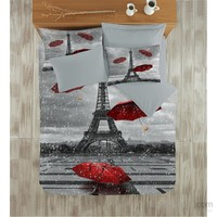 Colors Of Fashion 3D Ranforce Çift Kişilik Nevresim Takımı - Pariste Aşk