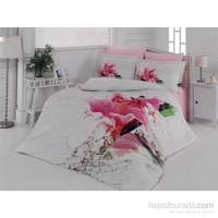 Colors Of Fashion 3D Camellia Çift Kişilik Saten Nevresim Takımı