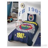 Taç Lisanslı Fenerbahçe Marşlı Logo Tek Kişilik Ranforce Yatak Örtüsü