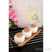 Paşahome Bambu Standlı Lüx Porselen 3'Lü Baharat Seti