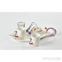 Yargıcı Porselen Porselen Kuğulu 6Lı Kahve Takımı