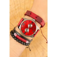 Morvizyon Kırmızı Deri Kordon Tasarımlı Gri Metal Kasa Erkek Saat Ve Bileklik Kombini