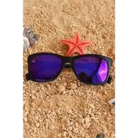 Morvizyon Clariss Marka Siyah Çerçeveli Mor Renkli Cam Tasarımlı Unisex Güneş Gözlük Modeli