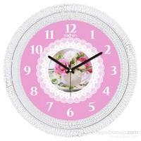 Cadran 1108-59 Dekoratif Vintage Duvar Saati Çatlak Desen Dantel Çiçek
