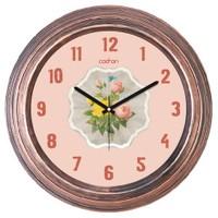 Cadran Dekoratif Vintage Bakır Duvar Saati Pembe Sarı Çiçekler