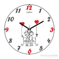 Cadran 110-16 Bombeli Cam Duvar Saati Love
