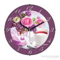 Cadran 110-8 Bombeli Cam Duvar Saati Çiçekler