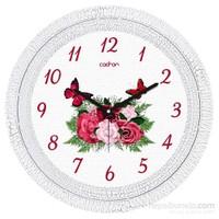 Cadran 1108-17 Dekoratif Vintage Duvar Saati Çatlak Desen Çiçekler Kelebek