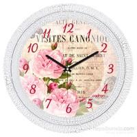 Cadran 1108-18 Dekoratif Vintage Duvar Saati Çatlak Desen Çiçekler-2