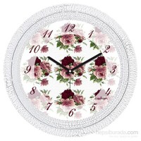 Cadran 1108-32 Dekoratif Vintage Duvar Saati Çatlak Desen Çiçekler-2