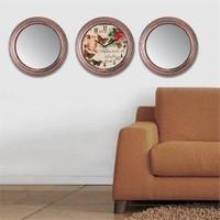 Cadran Home 2'Li Ayna Ve Duvar Saati Set Chas3