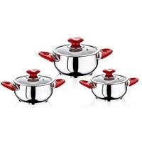 Safinox 6 Parça Eva Omlet Set Renkli Kulplu-Kırmızı