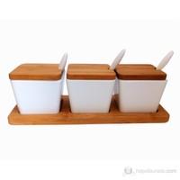 Bosphorus Bambu Melamin Kare Form Kahvaltılık/Sosluk Beyaz 3 Lü Set