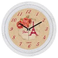 Cadran Dekoratif Vintage Çatlak Desen Duvar Saati Kırmızı Güller Eyfel