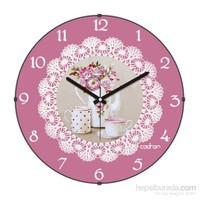 Cadran 160-6 Dantel Desenli Bombeli Cam Duvar Saati Çiçekler