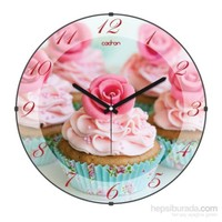 Cadran 180-7 Mutfak Bombeli Cam Duvar Saati Renkli Cupcake