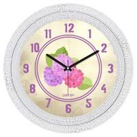 Cadran Dekoratif Vintage Çatlak Desen Duvar Saati Lila Pembe Çiçekler