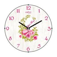 Cadran Luxury Sweet Home Bombeli Cam Duvar Saati Ahşap Desen-1