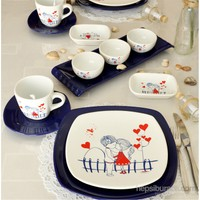 Keramika Keramira Kobalt Köşem 14 Parça 2 Kişilik Seramik Kahvaltı Takımı 004-430 A