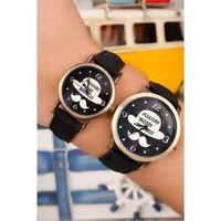 Morvizyon İç Detayı Şapka Bıyık Figürlü Sevgili Saati - 135