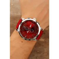 Morvizyon Kırmızı Deri Kordon Tasarımlı Gümüş Kaplama Metal Kasalı Erkek Saat Modeli