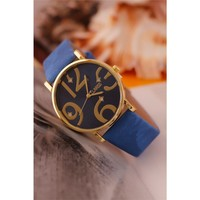 Morvizyon Clariss Marka Mavi Kendinden Desenli Deri Kordon Tasarımlı Metal Kasa Bayan Saat