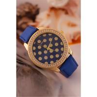 Morvizyon Clariss Marka Mavi Deri Kordon Tasarımlı İç Detayı Puantiyeli Bayan Saat Modeli
