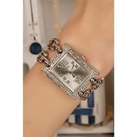 Morvizyon Clariss Marka Gümüş Kaplama Metal Kordon Tasarımlı Kristal Taşlı Kare Bayan Saat