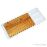 iHouse 5787 Kesme Tahtalı Kahvaltı Tabağı Beyaz