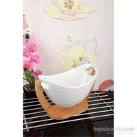 Royal Windsor Bambu Standlı Lüx Dalgalı Porselen Sallanır Salata Kasesi