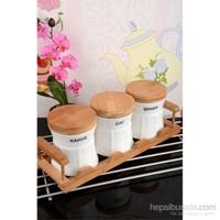 Royal Windsor Bambu Standlı Lüx Porselen 3'Lü Baharat Seti