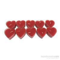 D-Sign Home 10'Lu Kırmızı Kalp Mum