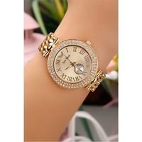 Morvizyon Kristal Taş Tasarımlı Gold Kasa Bayan Saat