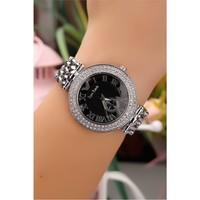 Morvizyon Gümüş Kaplama Metal Kordonlu Kristal Taş Kasalı İç Detayı Siyah Bayan Saat
