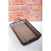 Royal Windsor Bambu Taban Hasır Örme Lüx Demir Tepsi - 47 Cm