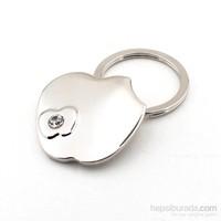 Solfera Parlak Taşlı Elma Apple Metal Anahtarlık Kc454