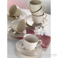 Kütahya Porselen Açelya Krem 6 Kişilik Kahve Fincan Takımı