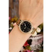 Morvizyon Sarı Kaplama Siyah İç Tasarımlı Bayan Saat