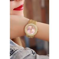 Morvizyon Clariss Marka Sarı Kaplama Pembe İç Tasarımlı Bayan Saat