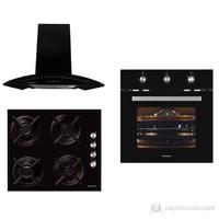 Termikel New Black Magic Eco 3'lü Ankastre Set (Akm 2021 Multifonksiyon Fırın + Akm 1052 Siyah Cam Ocak + Akm 3010 Siyah Gövdeli Cam Davlumbaz)