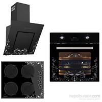 Termikel Black Gilt 3'lü Ankastre Set (6500 Tezhip Desenli Fırın +17052/17152 Tezhip Desenli Ocak + 6035 Tezhip Desenli Davlumbaz)