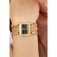 Morvizyon Clariss Marka Sarı Kaplama Kare Kasa Siyah İç Tasarımlı Bayan Saat