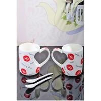 Royal Windsor Porselen 2'Li Kaşıklı Kalp Şekilli Lüx Kupa Seti