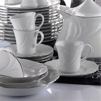 Kütahya Porselen Troya Platin File 12 Parça 6 Kişilik Çay Takımı