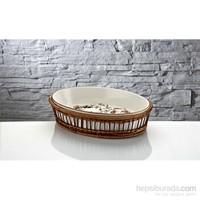 iHouse Rx13 Porselen Hasırlı Fırın Kabı Beyaz