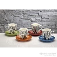 iHouse Kla03 Porselen 4 Lü Renkli Fincan Seti Beyaz